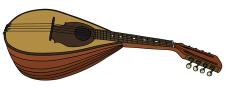 Hand drawing of an old mandolin