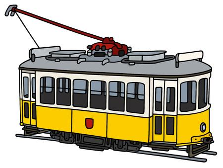 Stary żółty elektryczny tramwaj Ilustracje wektorowe