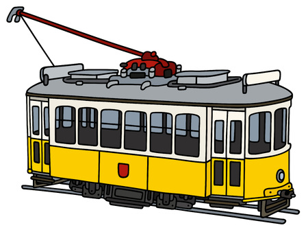 Old yellow electric tramway