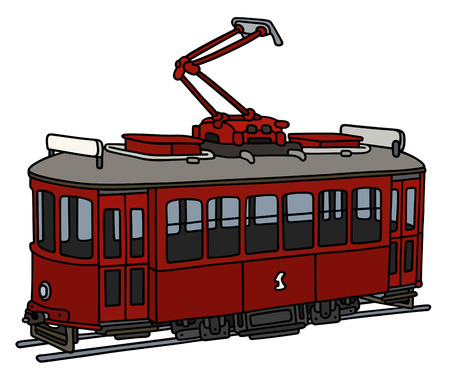 Classic dark red tramway