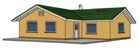 Hand drawing of a low house