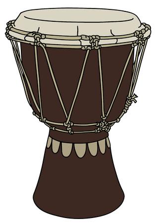 ethno: Dark wooden small ethno drum