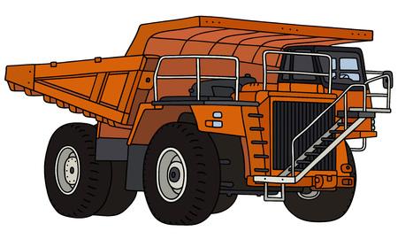 Orange heavy mining dump truck