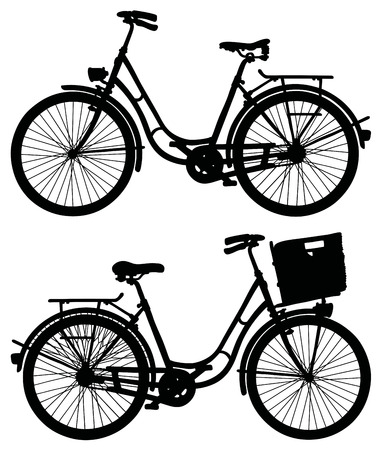 velocipede: Black silhouette of two classic bicycles Illustration