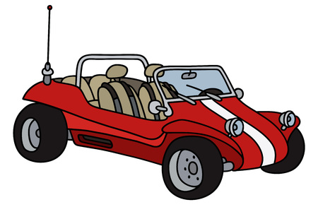 Funny red dune buggy Illustration