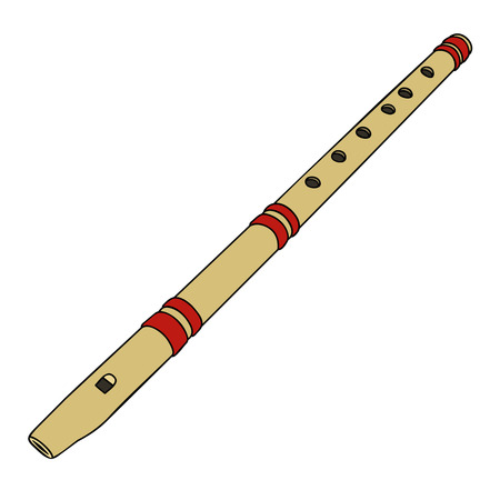 ethno: Classic simple wooden flute Illustration