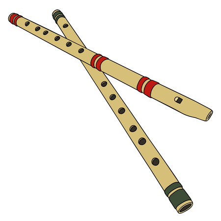 ethno: Two classic simple wooden flutes