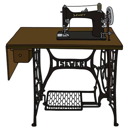 Retro Treadle sewing machine 일러스트