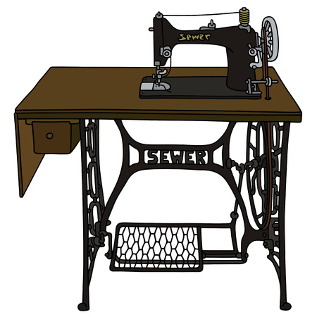 Retro Treadle sewing machine Illustration