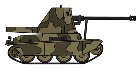 Old camouflaged self propelled gun Stock Vector - 75543073