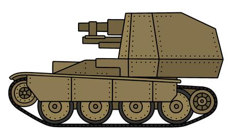 propelled: Vintage sand self propelled gun