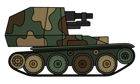 Vintage camouflaged self propelled gun Stock Vector - 75432522