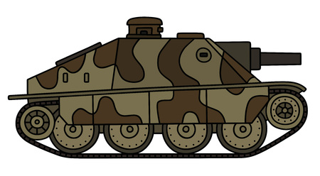 howitzer: Old camouflaged tank destroyer