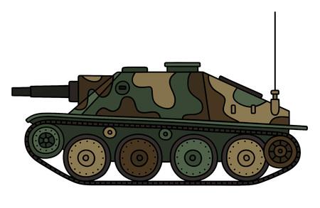 Vintage color camouflaged tank destroyer Illustration