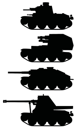 tracked: Vintage armored tracked vehicles Illustration