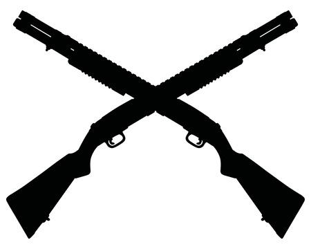 Twee oversteken Pump Shotguns. Stock Illustratie