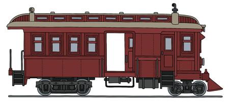 railcar: Vintage dark red motor railcar.