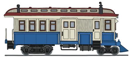 railcar: Retro blue and white motor railcar.