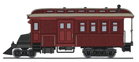 Vintage dark red motor passenger train.