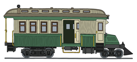 railcar: Vintage motor railcar. Illustration