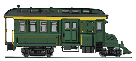 railcar: Vintage green motor railcar.