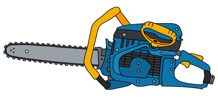 Blue and yellow chainsaw