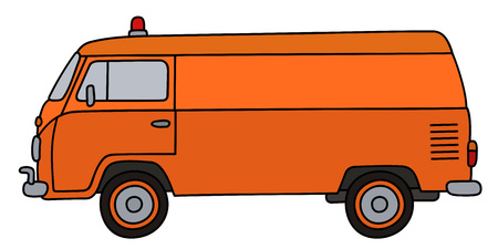 Retro orange minivan service