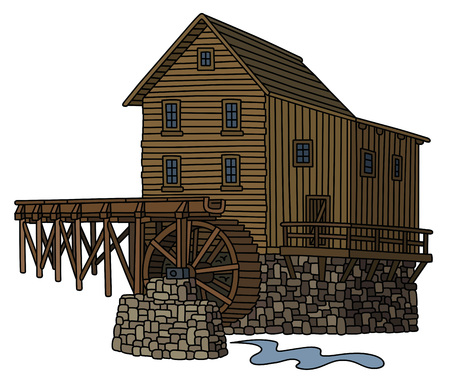 watermill: Historical wooden watermill