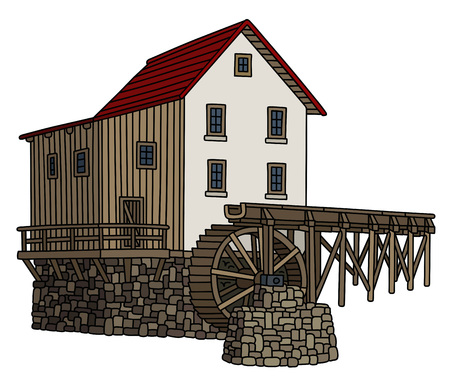 Old stone watermill Illustration