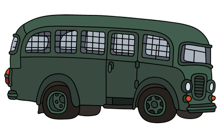 Hand drawing of a funny old prison bus