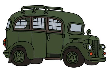 Hand drawing of a vintage bus prison Ilustração Vetorial