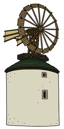 Old white stone windmill
