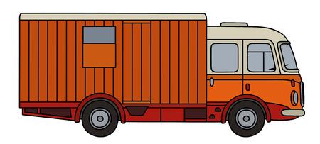 Classic orange moving wagon Reklamní fotografie - 77773176