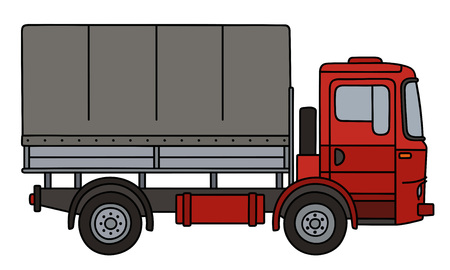 Red delivery covered truck