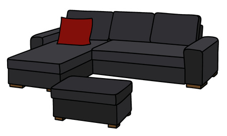Big black sofa with the red pillow Illustration