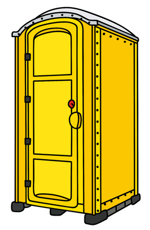 Yellow plastic mobile toilet Illustration