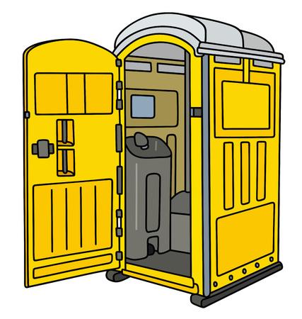 Yellow mobile toilet