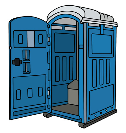 Blue opened mobile toilet