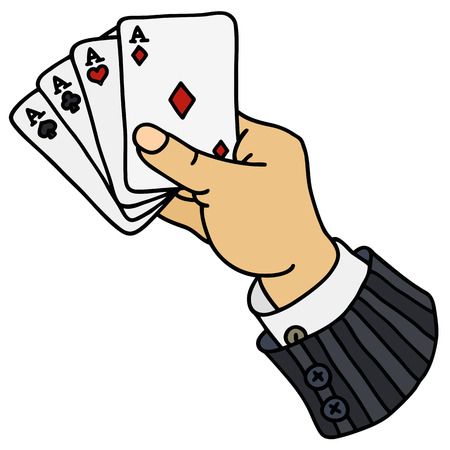Four aces in hand Illustration