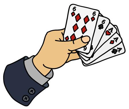 Full house of poker cards in hand