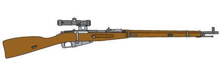 Old military rifle with optical sight Illustration