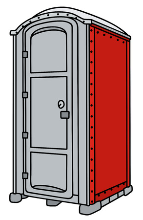Red and gray mobile toilet Illustration