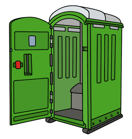Green opened mobile toilet