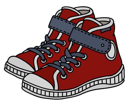 Czerwone, białe i szare dziecięce buty sportowe