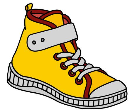 Gele, rode en witte kinderen sneaker