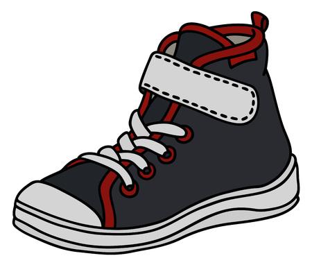 Zwarte, rode en witte kindersportschoen