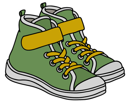 Green and yellow childrens sport shoes Ilustracja