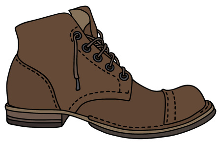 lacing: Old leather lacing shoe.