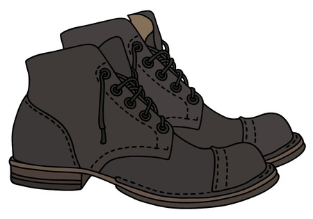 lacing: Old dark leather lacing shoes. Illustration