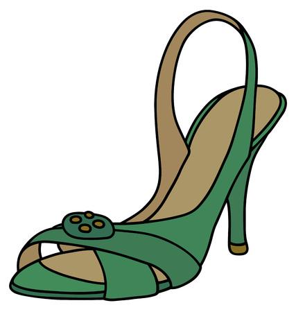 Green band sandal on high heel